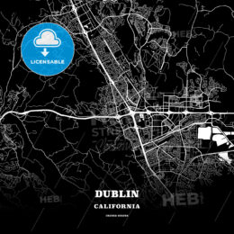 Black map poster template of Dublin, California, USA