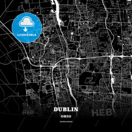 Black map poster template of Dublin, Ohio, USA