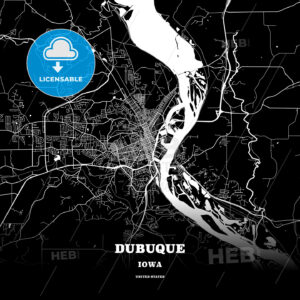 Black map poster template of Dubuque, Iowa, USA - HEBSTREITS