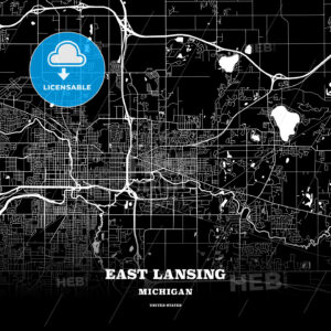 Black map poster template of East Lansing, Michigan, USA - HEBSTREITS