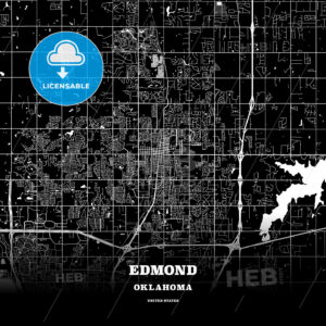 Black map poster template of Edmond, Oklahoma, USA - HEBSTREITS