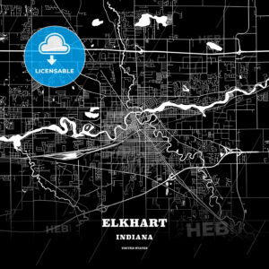 Black map poster template of Elkhart, Indiana, USA - HEBSTREITS