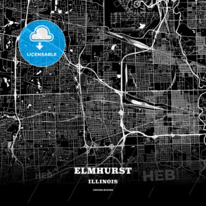 Black map poster template of Elmhurst, Illinois, USA - HEBSTREITS