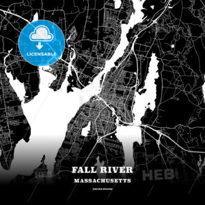 Black map poster template of Fall River, Massachusetts, USA - HEBSTREITS