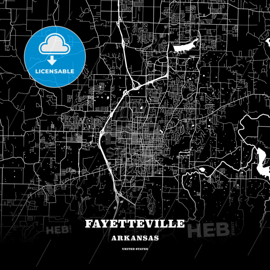 Black map poster template of Fayetteville, Arkansas, USA - HEBSTREITS