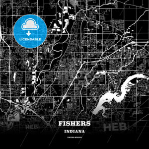 Black map poster template of Fishers, Indiana, USA - HEBSTREITS
