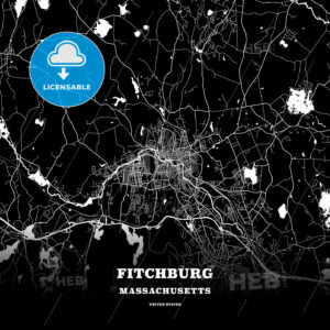 Black map poster template of Fitchburg, Massachusetts, USA - HEBSTREITS