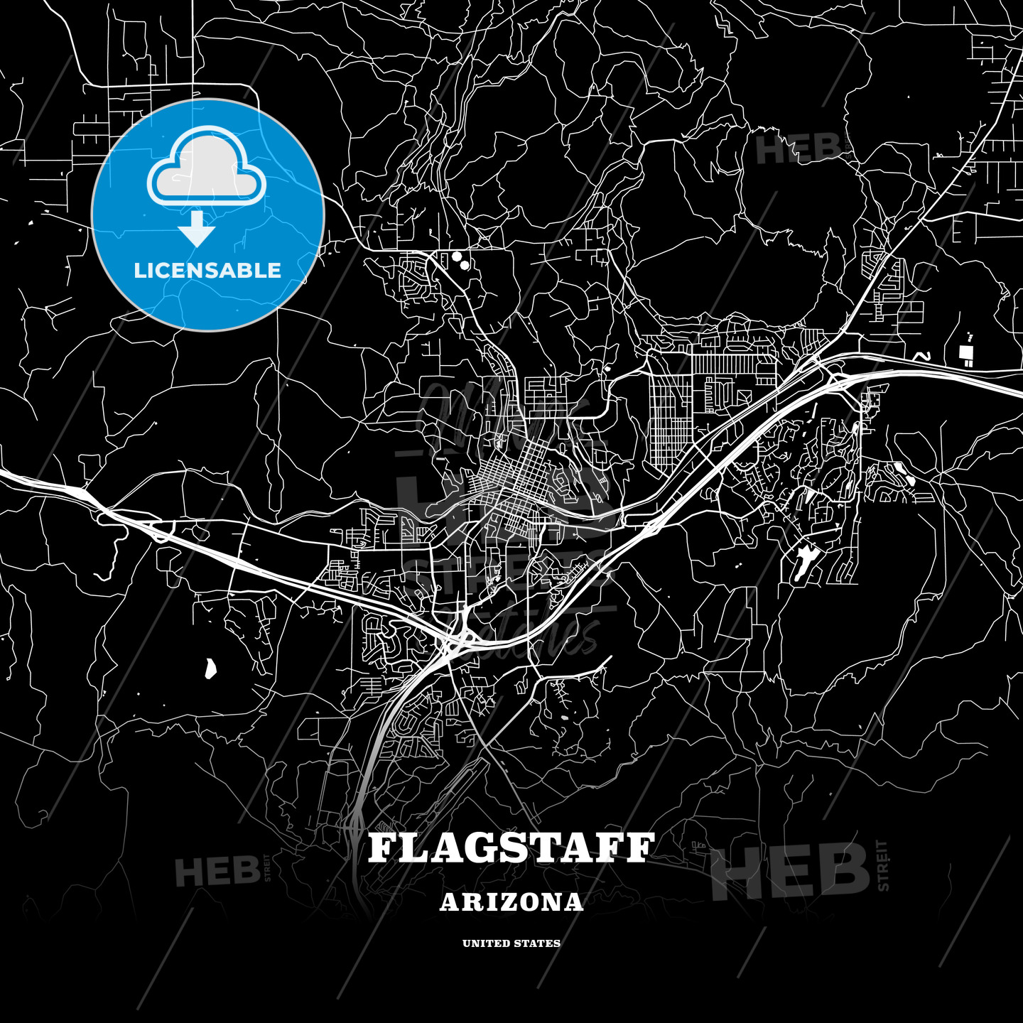Map Of Flagstaff Arizona.Black Map Poster Template Of Flagstaff Arizona Usa Hebstreits