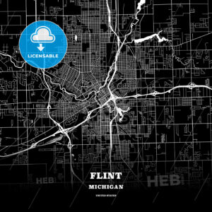 Black map poster template of Flint, Michigan, USA - HEBSTREITS