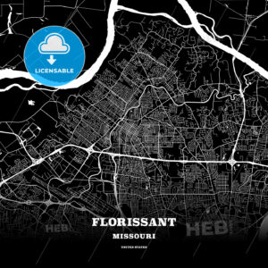 Black map poster template of Florissant, Missouri, USA - HEBSTREITS