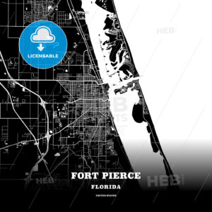 Black map poster template of Fort Pierce, Florida, USA - HEBSTREITS