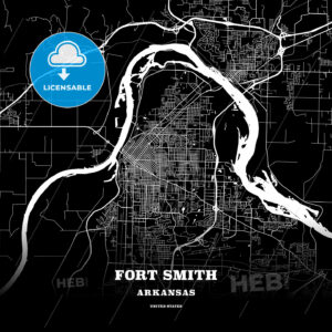 Black map poster template of Fort Smith, Arkansas, USA - HEBSTREITS