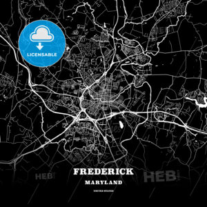 Black map poster template of Frederick, Maryland, USA - HEBSTREITS