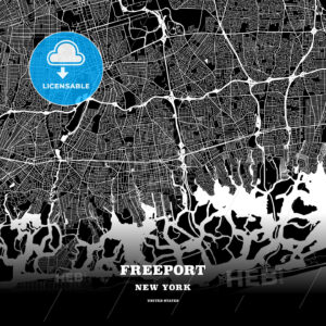 Black map poster template of Freeport, New York, USA - HEBSTREITS