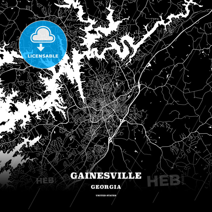 Black map poster template of Gainesville, Georgia, USA - HEBSTREITS
