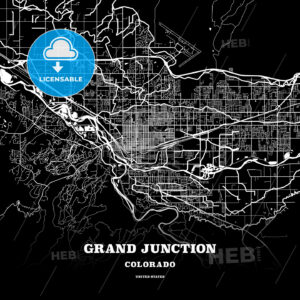 Black map poster template of Grand Junction, Colorado, USA - HEBSTREITS