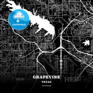 Black map poster template of Grapevine, Texas, USA - HEBSTREITS