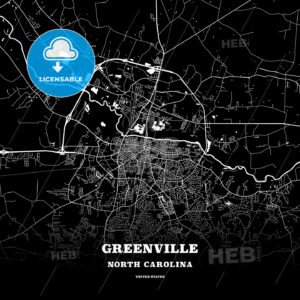 Black map poster template of Greenville, North Carolina, USA - HEBSTREITS