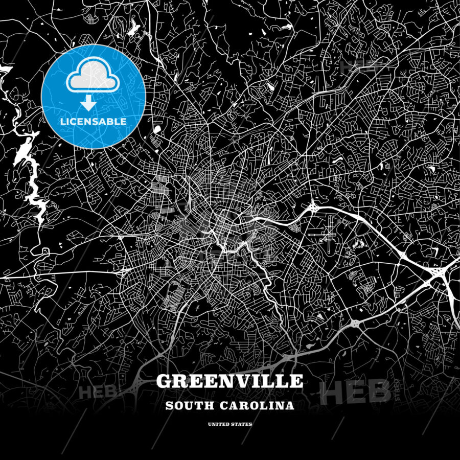 Black map poster template of Greenville, South Carolina, USA - HEBSTREITS