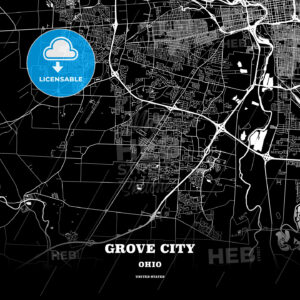 Black map poster template of Grove City, Ohio, USA - HEBSTREITS