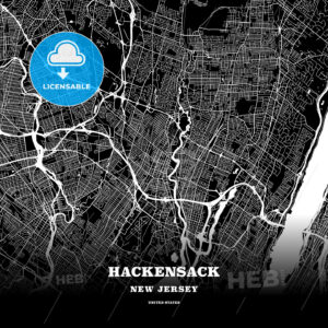 Black map poster template of Hackensack, New Jersey, USA - HEBSTREITS