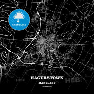 Black map poster template of Hagerstown, Maryland, USA - HEBSTREITS