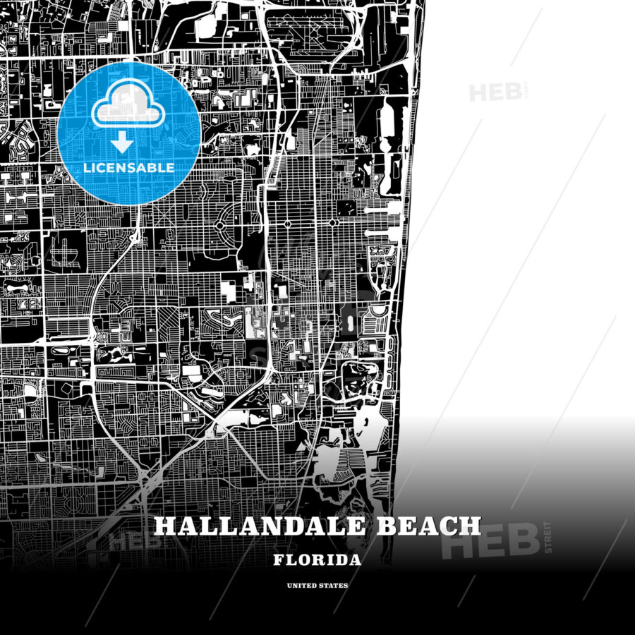 Map Hallandale Florida.Black Map Poster Template Of Hallandale Beach Florida Usa Hebstreits