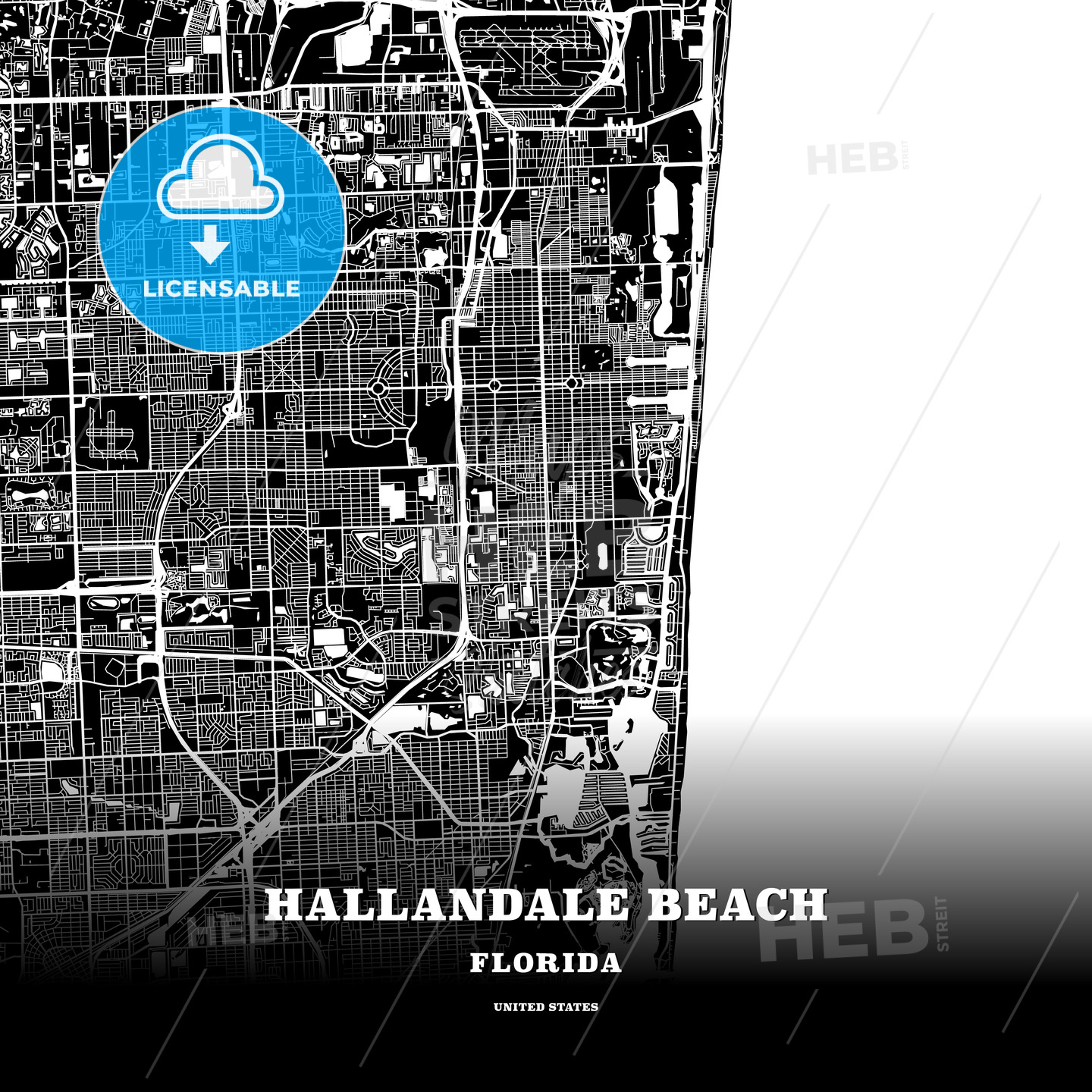 Black Map Poster Template Of Hallandale Beach Florida Usa