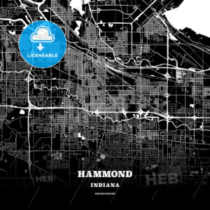 Black map poster template of Hammond, Indiana, USA - HEBSTREITS