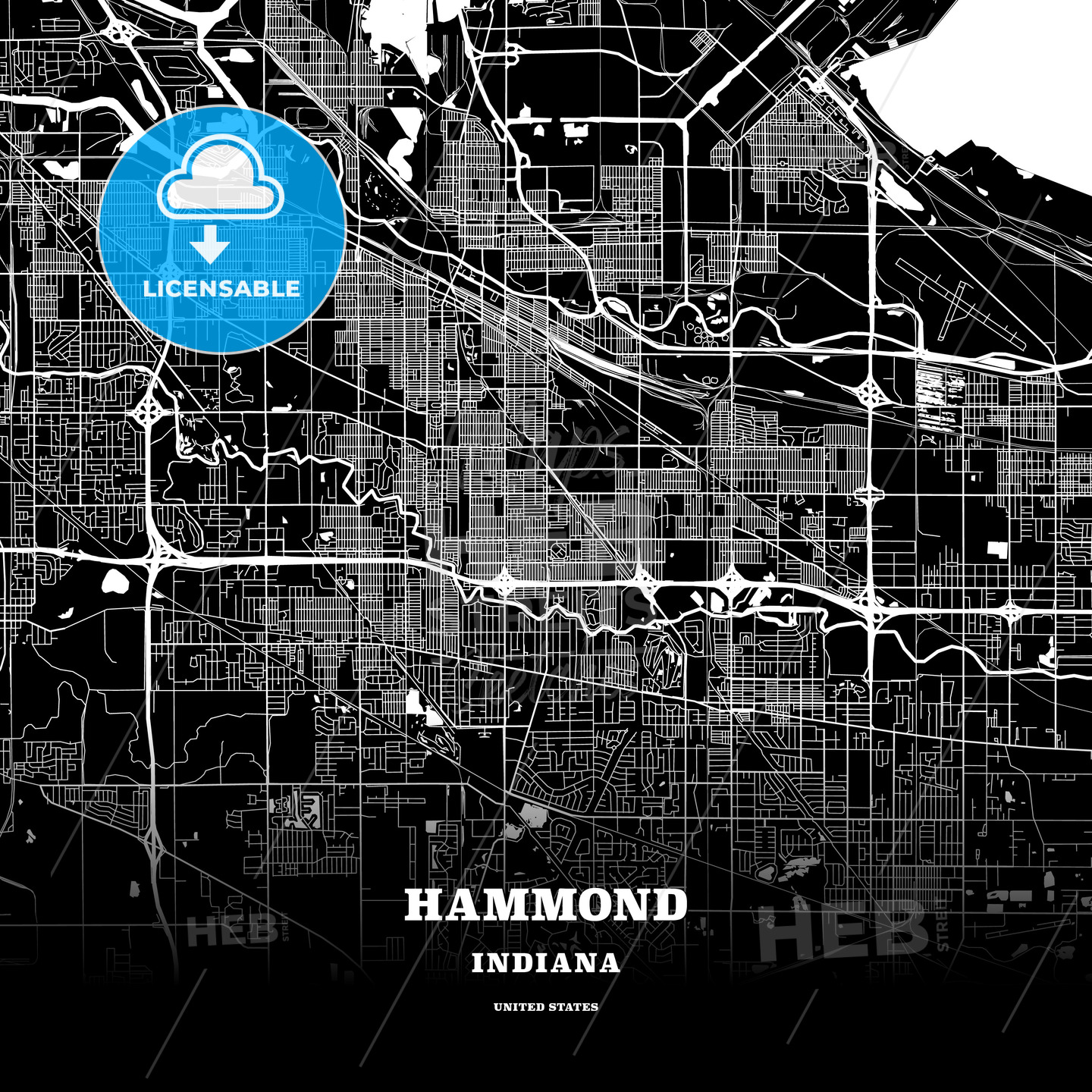 Black Map Poster Template Of Hammond Indiana Usa Hebstreits Sketches