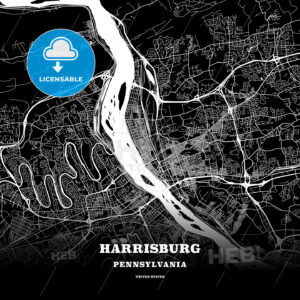 Black map poster template of Harrisburg, Pennsylvania, USA - HEBSTREITS