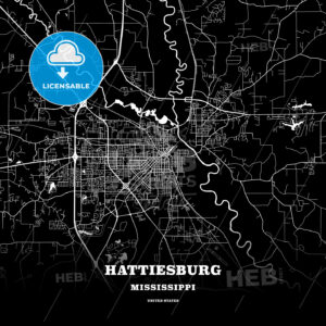 Black map poster template of Hattiesburg, Mississippi, USA - HEBSTREITS