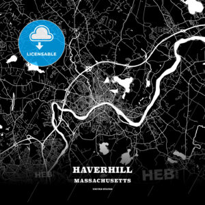 Black map poster template of Haverhill, Massachusetts, USA - HEBSTREITS