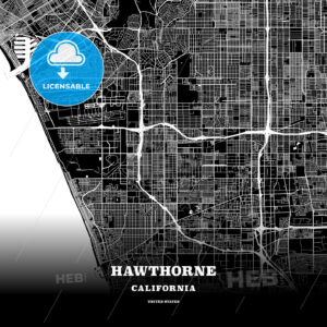 Black map poster template of Hawthorne, California, USA - HEBSTREITS