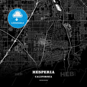 Black map poster template of Hesperia, California, USA - HEBSTREITS
