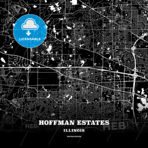 Black map poster template of Hoffman Estates, Illinois, USA - HEBSTREITS