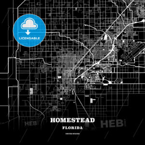Black map poster template of Homestead, Florida, USA - HEBSTREITS