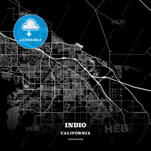 Black map poster template of Indio, California, USA - HEBSTREITS