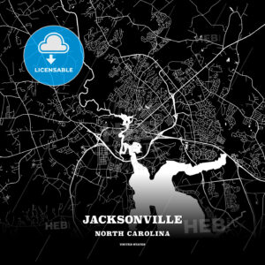 Black map poster template of Jacksonville, North Carolina, USA - HEBSTREITS