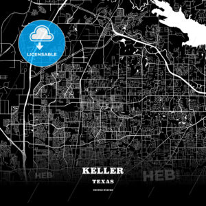 Black map poster template of Keller, Texas, USA - HEBSTREITS