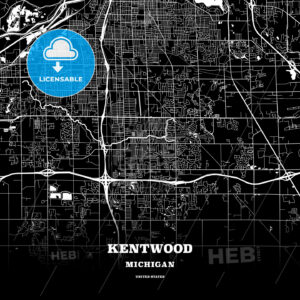 Black map poster template of Kentwood, Michigan, USA - HEBSTREITS