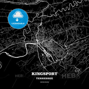 Black map poster template of Kingsport, Tennessee, USA - HEBSTREITS