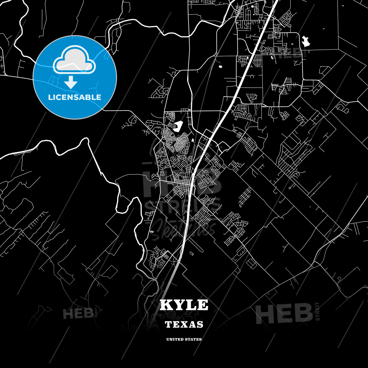 Map Of Texas Kyle.Black Map Poster Template Of Kyle Texas Usa