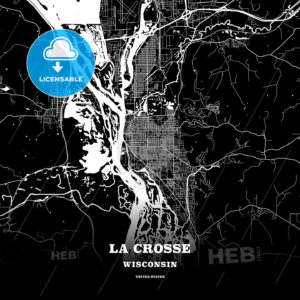 Black map poster template of La Crosse, Wisconsin, USA - HEBSTREITS