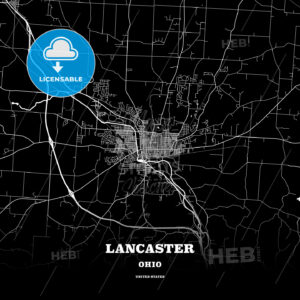 Black map poster template of Lancaster, Ohio, USA - HEBSTREITS