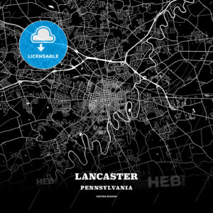 Black map poster template of Lancaster, Pennsylvania, USA - HEBSTREITS