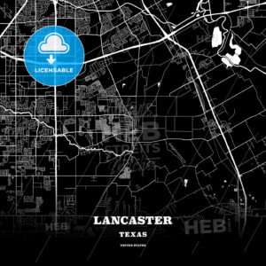 Black map poster template of Lancaster, Texas, USA - HEBSTREITS