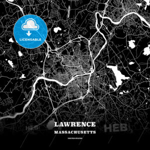 Black map poster template of Lawrence, Massachusetts, USA - HEBSTREITS