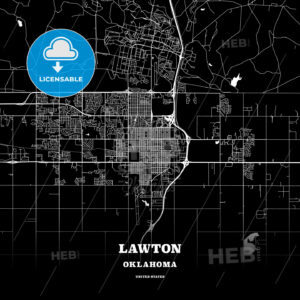 Black map poster template of Lawton, Oklahoma, USA - HEBSTREITS