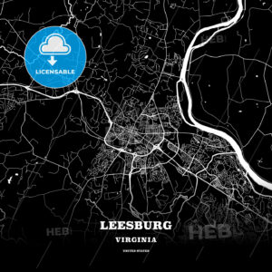 Black map poster template of Leesburg, Virginia, USA - HEBSTREITS